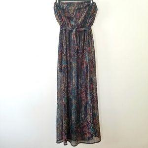 Strapless Printed Maxi Dress (Sheer)